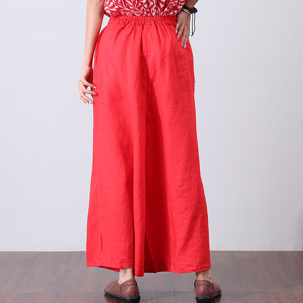 Casual Linen Pleated Loose Red Wide Leg Pants - Buykud