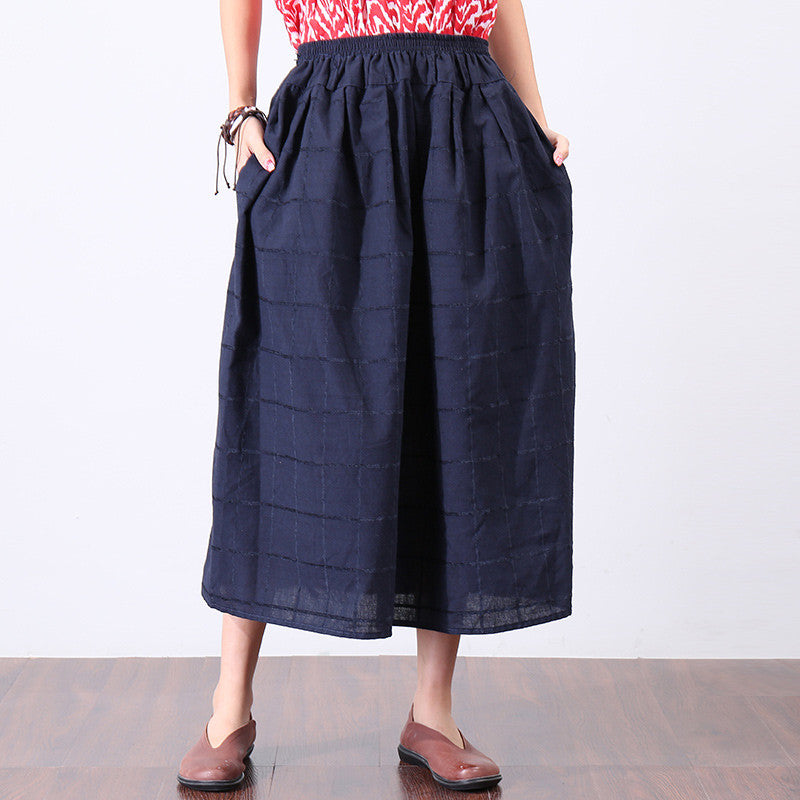 Casual Navy Blue Lattice Literature Women Skirt - Buykud