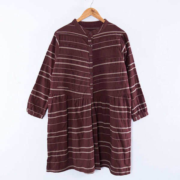 Literature Stripe Splicing Pleated Long Sleeves Autumn Women Dress - Buykud
