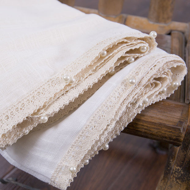Literature Linen Rectangle Women Beige Scarf - Buykud