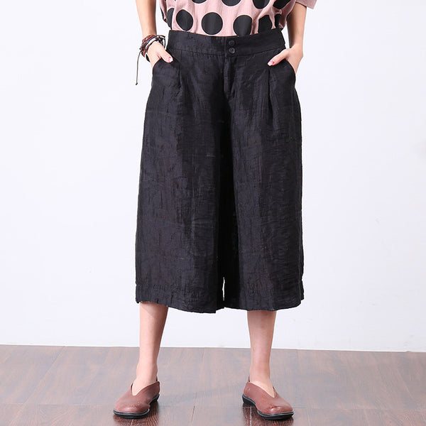 Women Casual buttons Zipper Black Wide Leg Pants - Buykud