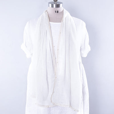Literature Linen Rectangle Women White Scarf - Buykud
