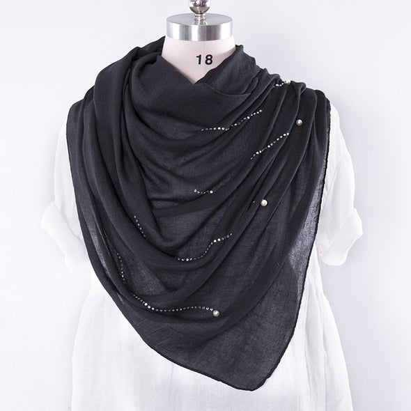 Casual Cotton Rectangle Women Black Scarf - Buykud