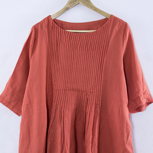 Splicing Linen Long Sleeves Pleated Loose Women Orange Dress - Buykud