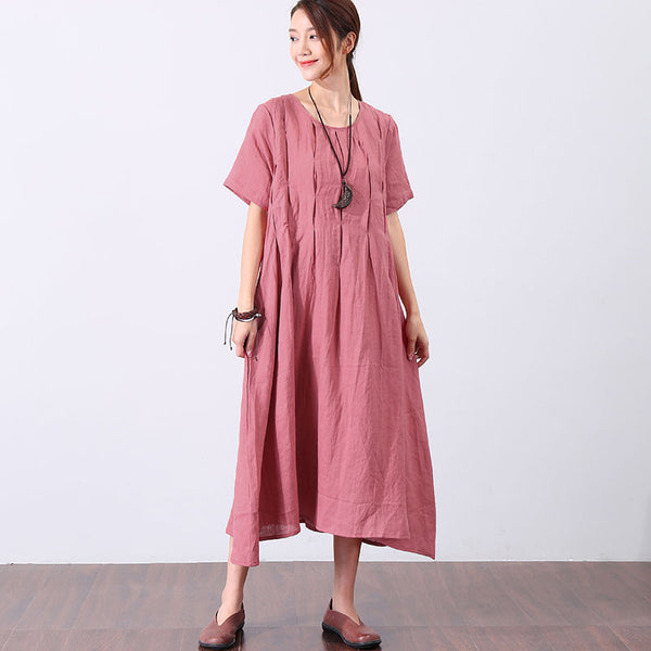 Women Solid Chic Casual Loose Short Sleeve Dress - Buykud