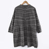 Literature Stripe Splicing Pleated Long Sleeves Loose Women Dress - Buykud