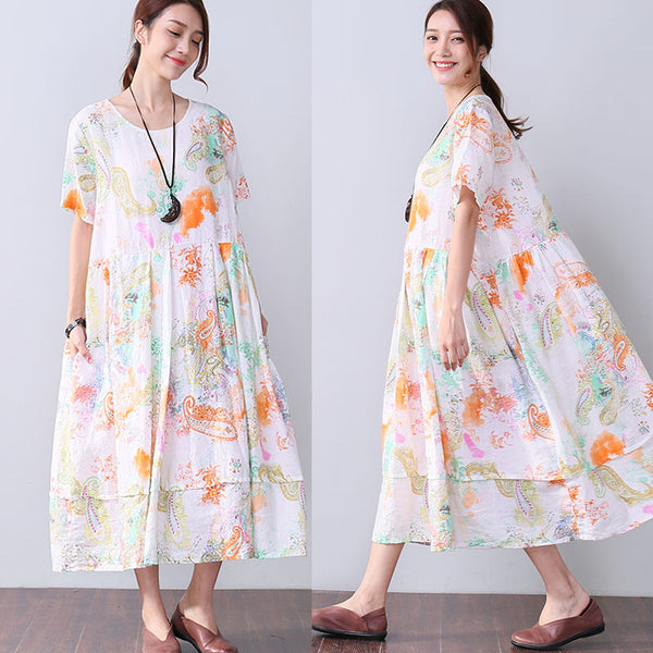 Women Casual Literature Floral Loose Printing Short Sleeve Dress