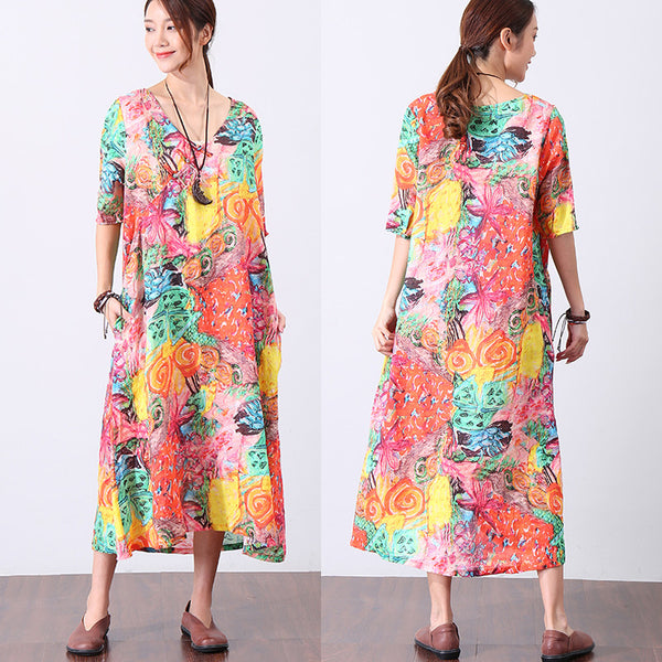 Printing Colorful Summer Short Sleeve Dress - Buykud