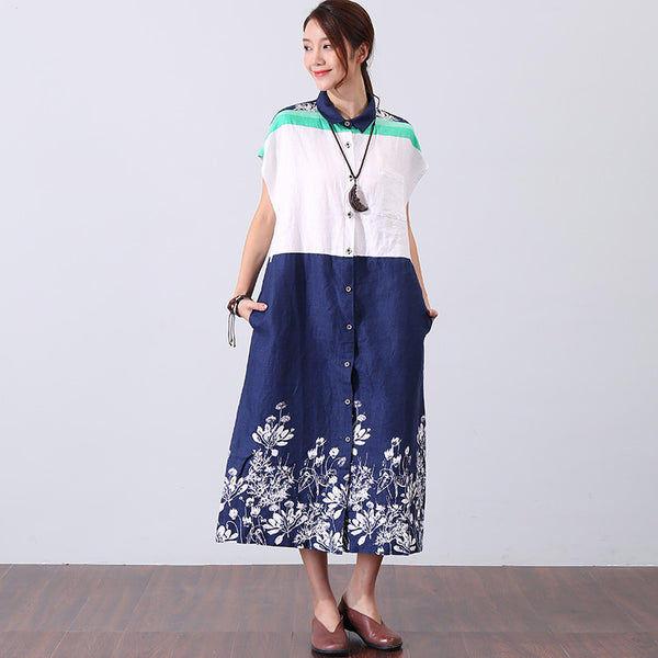 Splicing Retro Printing Polo Collar Women Blue And White Dress