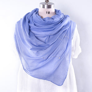 Casual Cotton Rectangle Women Blue Scarf - Buykud