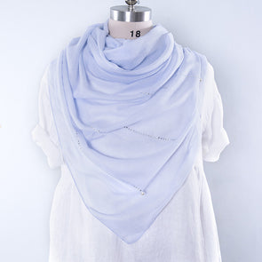 Casual Cotton Rectangle Women Light Blue Scarf - Buykud