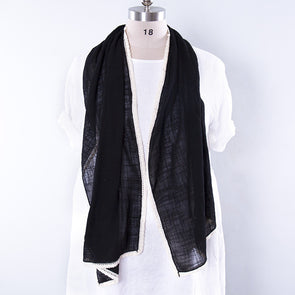 Literature Linen Rectangle Women Black Scarf - Buykud