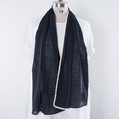 Literature Linen Rectangle Women Navy Blue Scarf - Buykud