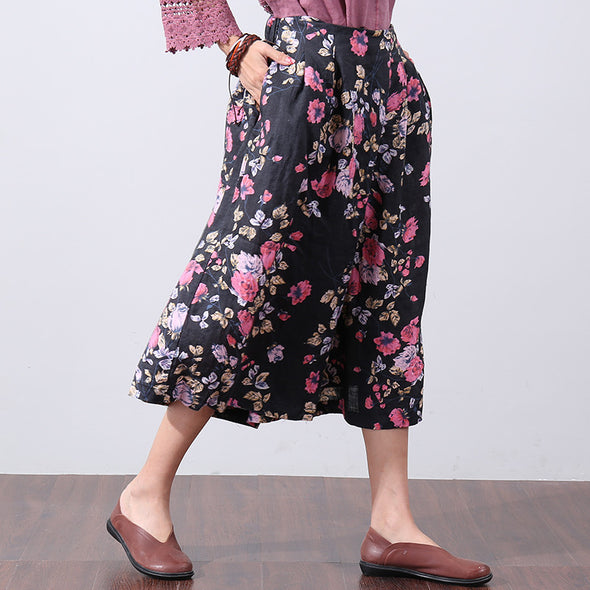 Ethnic Women Loose Retro Floral Folded Summer Black Pants - Buykud