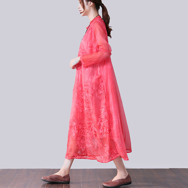 Graceful Applique Lining Long Sleeves Women Red Dress - Buykud