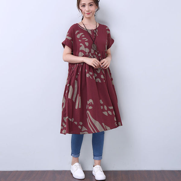 Women Summer Elegant Folded Pocket Short Sleeve Red Dress - Buykud