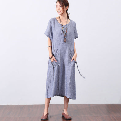 Summer Short Sleeve Women Lacing Pocket Dress - Buykud