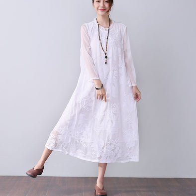 Graceful Applique Lining Long Sleeves Women White Dress - Buykud
