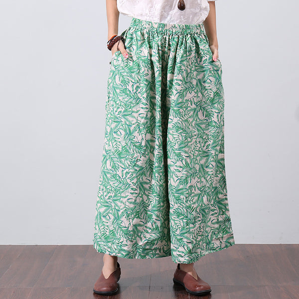 Loose Printing Women Summer Green Wide Leg Pants - Buykud