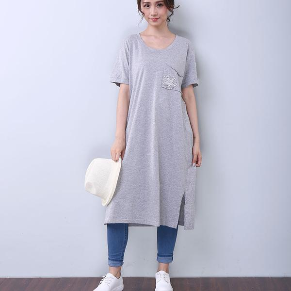 Women Summer Casual Applique Letter Splitting Short Sleeve White Dress