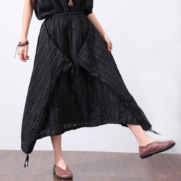 Irregular Stripe Loose Linen Women Black Skirt - Buykud