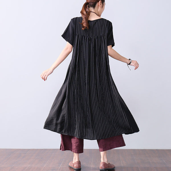 Summer Women Stripe Pleated Splicing Loose Short Sleeve Black Dress - Buykud