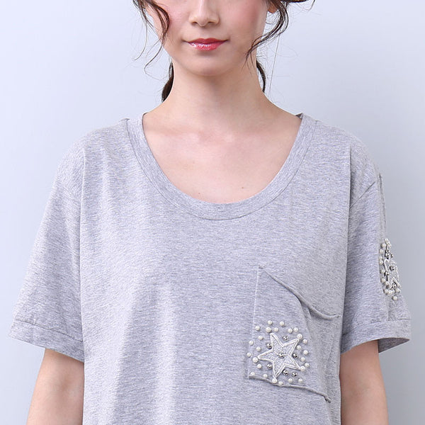 Women Summer Casual Applique Letter Splitting Short Sleeve Gray Dress