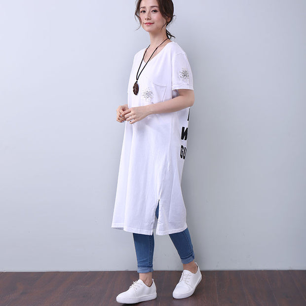 Women Summer Casual Applique Letter Splitting Short Sleeve White Dress - Buykud