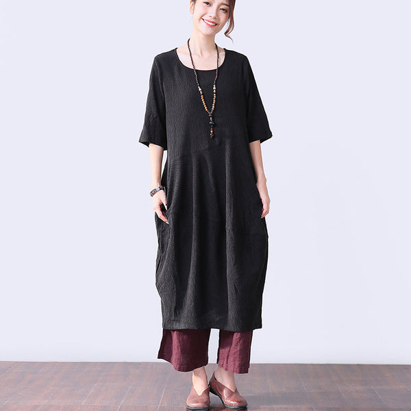 Casual Pleated Elbow Sleeves Women Black Dress