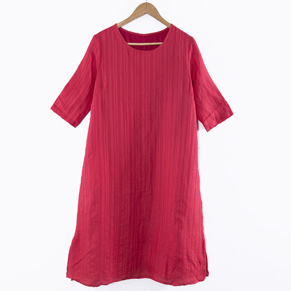 Casual Women Short Sleeves Splitting Pockets Summer Red Dress - Buykud