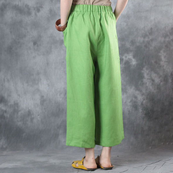 Casual Linen Big Pockets Women Wide Leg Pants - Buykud