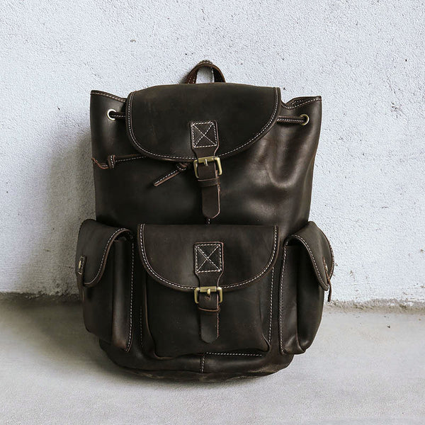 Women Leather Casual Dark Brown Backpack