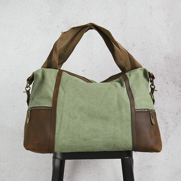 Canvas Women Leather Green Tote Bag