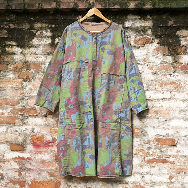 Retro Ink Printing Cotton Dress