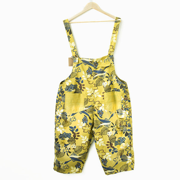 Women loose yellow floral printing cotton jumpsuits with pockets pants - Buykud