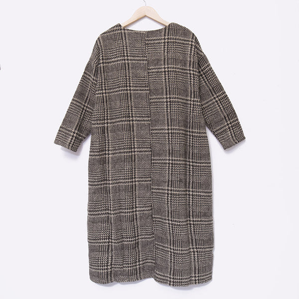 Casual Women Cotton Linen Mixed Color Lattice Dress - Buykud