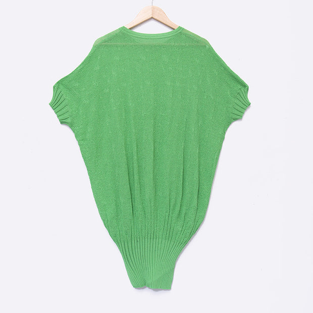 Summer Women Loose Casual Green Knitting Shirts - Buykud