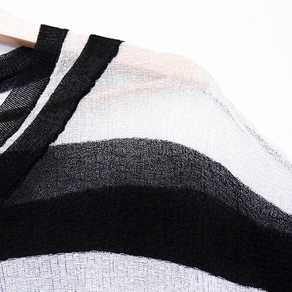 Women White And Black Stripe Casual Short Sleeve Knitted Shirt - Buykud