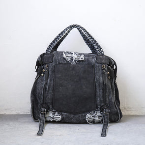 Women Rivets Vintage Large Capacity Light Gray Shoulder Bag - Buykud