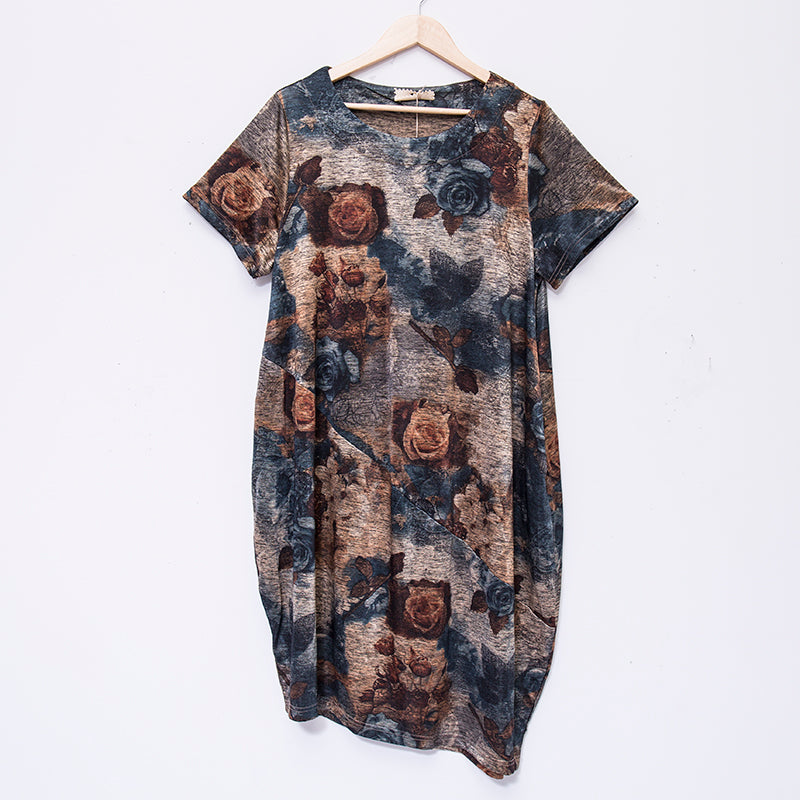 Summer Retro Loose Short Sleeve Printing Dress For Women - Buykud