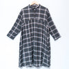 Women Polo Collar Buttons Casual Long Sleeve Pleated Lattice Dress - Buykud