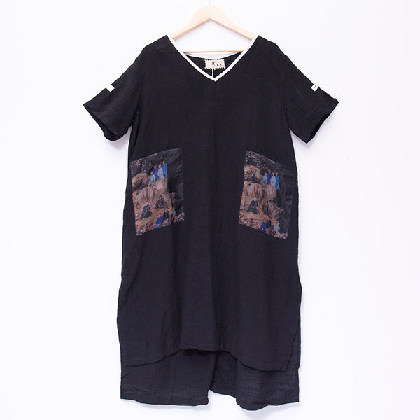 Fashion Women V Neck Short Sleeve Black Printing Dress - Buykud