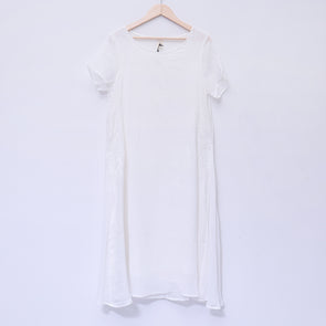Elegant Summer Short Sleeve Loose White Dress - Buykud