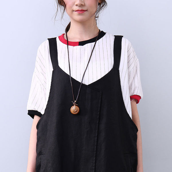V Neck Sleeveless Women Casual Black Dress - Buykud