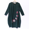 Applique Cotton Linen Loose Casual Women Dress - Buykud