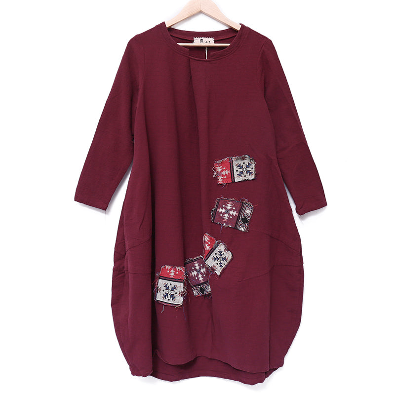 Chic Applique Retro Image Long Sleeves Linen Dark Red Women Dress - Buykud
