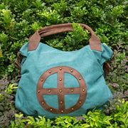 Leather Canvas Women Casual Travel Tote Green Shoulder Bag - Buykud