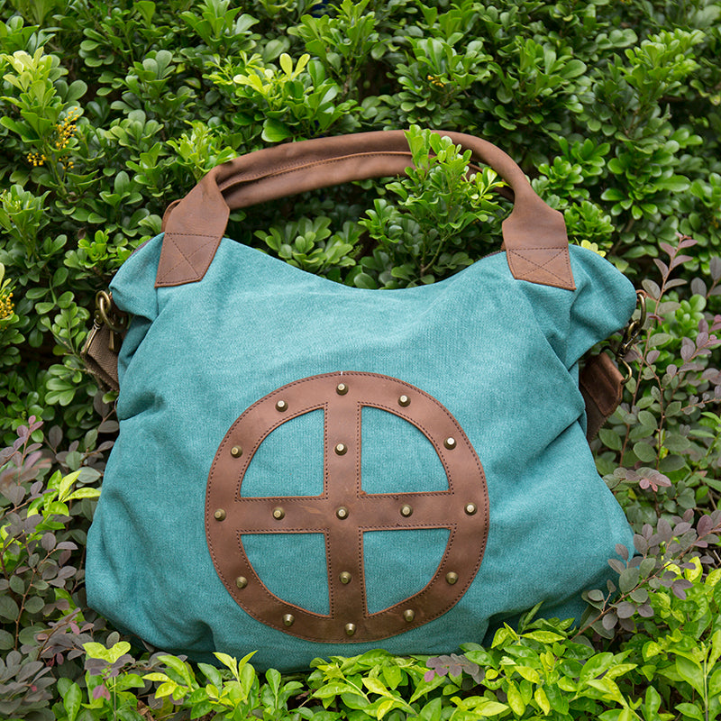a42f24ea79 Leather Canvas Women Casual Travel Tote Green Shoulder Bag - Buykud