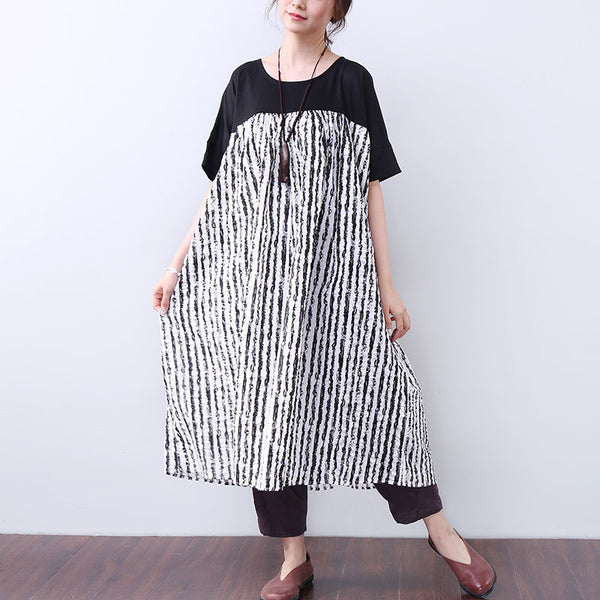 Women Casual Splicing Loose Short Sleeve Black Dress - Buykud