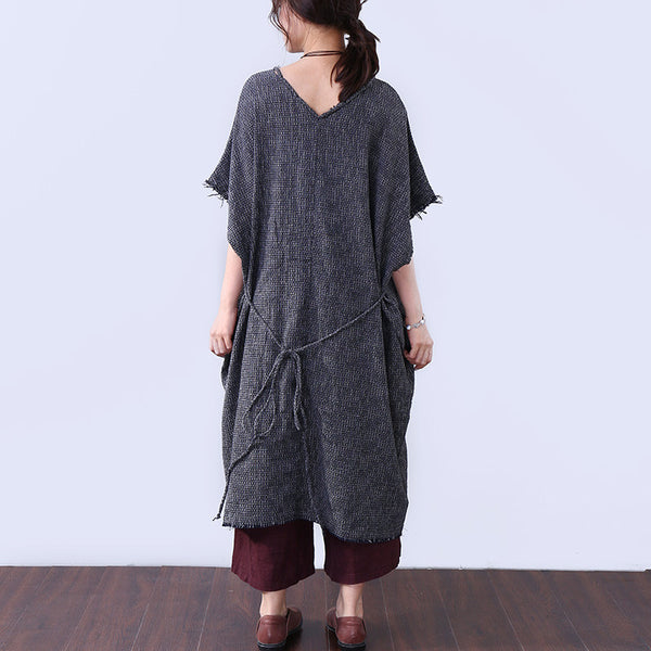 Vintage Cotton Pocket Strap Elbow Sleeves Women Gray Dress - Buykud